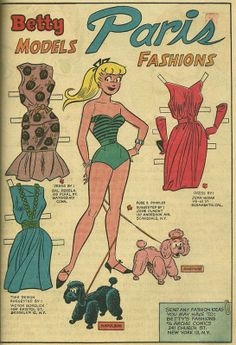 (⑅ ॣ•͈ᴗ•͈ ॣ)♡                                                             ✄Paper Doll 1961 Betty paper doll / westfieldcomics.com