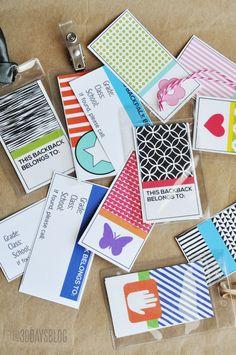 Printable Backpack Tags from www.thirtyhandmadedays.com