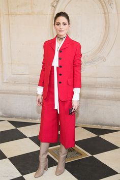 - Olivia Palermo donned a cropped suit, hitting at mid-calf, over knee-high boots. This is a perfect option if you work in a creative environment, or an unexpected alternative to a dress for dinner with friends.