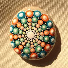Gartendekoration - Mandala - Gemalter Stein Fee Garten orange - ein Designerstück von CreateAndCherish bei DaWanda