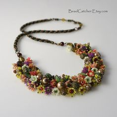 Blooming summer beadwoven necklace by BeadCatcher on Etsy