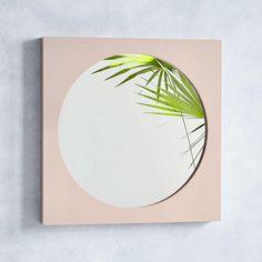 Curved Cutaway Wall Mirror - Blush