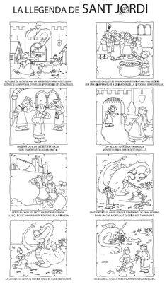 Auca de la llegenda de St. Jordi (b-n) Catalan Language, Game Cafe, St Georges Day, Arts And Crafts, Paper Crafts, Saint George, Fun Projects, Education, School