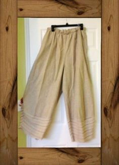 Amazing Lagenlook Natural Oatmeal BAGGY LOOSE WIDE 100% Linen Pants Size XL WOW! #Park #Linen
