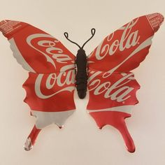 Coca-Cola Butterfly Heart Upcycled//Recycled Drinks Can Picture//Art