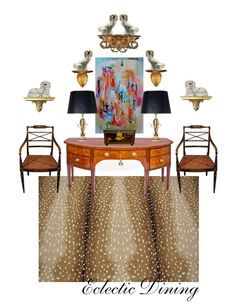 2 Nancy corozine chairs, nana sideboard,gold lamps, Antique French poster, antelope rug from bedroom, large shell box