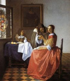 Johannes Vermeer (Dutch [Baroque, Dutch Golden Age] The Girl with a Wineglass, circa Herzog Anton Ulrich Museum, Braunschweig, Germany. Johannes Vermeer, Rembrandt, Baroque Painting, Baroque Art, Dutch Artists, Famous Artists, Art Du Temps, Vermeer Paintings, List Of Paintings