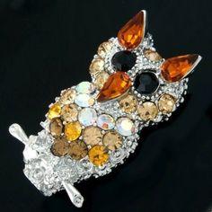 Twinkling Brown Orange Crystal owl