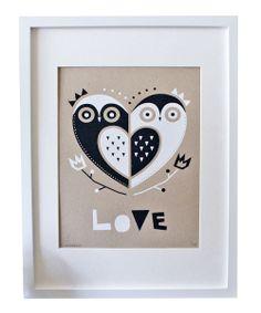 Owl 'Love' Screen Print