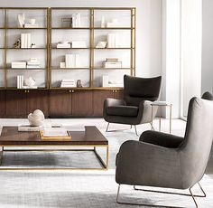 RH's Duvall 4-Door Sideboard & Hutch:A pairing of wood and polished metal defines our carefully curated take on 1970s design from Anthony Cox. The streamlined style and distinctive, vertical wood grain lend a sculptural presence to storage and display.