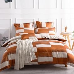 The Rowan Orange quilt cover Set is sure to lift any bedroom. Featuring orange with specks of silver on a linen backdrop.....#quiltcovers #doonacovers #superkingquiltcovers #superkingbedlinen #bedlinen #linen #bedding #kingsheets #superkingsheets #quiltcover #homedesign Orange Quilt, Yellow Quilts, King Beds, Queen Beds, Superking Bed, European Pillows, King Size Pillows, King Sheets, Australia Living