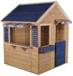 Wood Playhouse, Garden Playhouse, Playhouse Outdoor, Blue Shutters, Outside Decorations, Garden Living, Backyard, Patio, Family Crafts