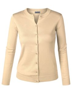 BIADANI Women Button Down Long Sleeve Soft Knit Cardigan Sweater (S-3X) COLCL003_KHAKI -- Awesome products selected by Anna Churchill