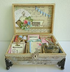 I like the vintage style of the box and the intricate details consequent of this style. I would like to incporater the idea of using an abundance of items much like that in this image.