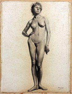 Carlos Baca-Flor (Islay, Arequipa, 1869 - Neuilly-sur-Seine, París, 1941)  Desnudo académico femenino (1893-1895) | von Li Taipo
