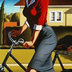 Beautiful artwork by Kenton Nelson. Edouard Hopper, Photografy Art, Art Deco Posters, Bicycle Art, Cycling Art, Up Girl, Figure Painting, Painting People, American Artists