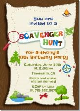 Scavenger hunt birthday party invitations. Scavenger hunts are a cool way to get every kid involved in the party!