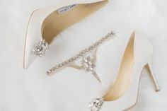 891a3837d The Aurora wedding garter paired with Jimmy Choo's classic satin pumps.  Talk about a match
