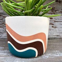 Bryce Planter by Black Mountain Ceramics Flower Pot Art, Flower Pot Design, Painted Plant Pots, Painted Flower Pots, Decorated Flower Pots, Pottery Painting Designs, Pot Jardin, Diy Planters, Terracotta Pots
