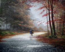 Jeff Rowland** is an British painter, known for romantic compositions of couples caught in the rain. Rowland was born the of January For biographical notes -in english and italian- and other works by Rowland, see: Jeff Rowland, 1964 Pictures To Paint, Cool Pictures, Rain Painting, Rain Art, Creation Photo, Walking In The Rain, Professional Painters, English Artists, Art Blog
