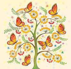Butterfly Tree By Clare Maddicott. Butterfly Tree, Butterfly Pictures, Flying Flowers, Illustrations, Beautiful Butterflies, Art Plastique, Phone Backgrounds, Zentangles, Dragonflies