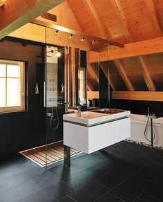 A beautiful space! Another good candidate for skylights. // Swiss Villa By Architect Andreas Bänziger En-Suite