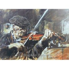 Donegal Fiddler - Limited edition print from a painting of the late James Josie McHugh who was a well known fiddle player from Ardara, Co. Donegal by artist Stephen Bennett - limited to a run of 250 prints each signed and numbered by the artist. Wild Atlantic Way, Irish Art, Donegal, Limited Edition Prints, Art Projects, Art Prints, Artist, Painting, Music