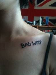 Doctor Who tattoo. Same font and placement but on right.