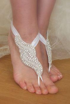 Rhinestone anklet  Beach wedding barefoot sandals by WEDDINGHome, $35.00