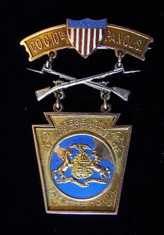 Gold Company C 10th Pennsylvania Volunteer Infantry Spanish-American War Medal - Presented to PVT John F. Baird