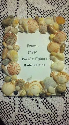 "Sea shells from the beach and a $3 picture frame from Hobby Lobby! My ""Pinterest Project of the Night"" from last night."
