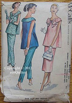 RARE Vintage 50's Misses' Maternity  Separates, Overblouse, Skirt in 2 Lengths, Pants, McCall's 3703 Sewing Pattern Size 14 by ecoquilter on Etsy https://www.etsy.com/listing/107604402/rare-vintage-50s-misses-maternity