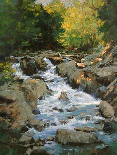 Early Spring Runoff, C Michael Dudash Paintings I Love, Beautiful Paintings, Abstract Landscape, Landscape Paintings, Waterfall Paintings, River Painting, Watercolor Trees, Painting Inspiration, Scenery