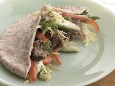 Healthified Grilled Fajita Pitas Recipe from Betty Crocker Pita Recipes, Steak Recipes, Lunch Recipes, Cooking Recipes, Healthy Recipes, Sandwich Recipes, Diabetic Recipes, Avocado Recipes, Healthy Dishes