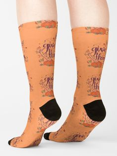 'Give Thanks   Thanks Giving   Happy Thanksgiving Day   Thanksgiving Gift' Socks by RainbowCanvas