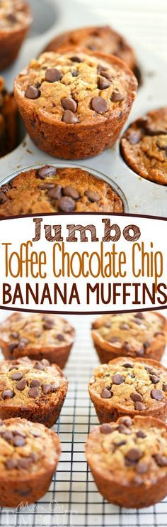 Jumbo Toffee Chocolate Chip Banana Muffins! The perfect recipe for using up ripe bananas! Great for breakfast, snack of dessert! This easy recipe yields incredibly moist and delicious banana muffins!
