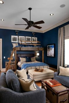 Dark & Moody - 10 Best Teen Bedroom Ideas - Cool Teenage Room Decor for Girls and Boys Small Rooms, Blue Bedroom, Awesome Bedrooms, Boys Bedroom Decor, Teenage Room Decor, Room, Kid Room Decor, Bedroom Design, Boy Bedroom Design