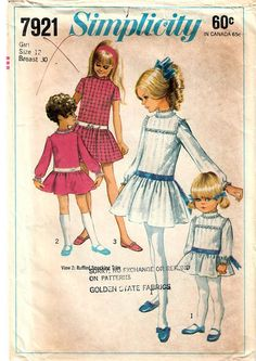 1960s Simplicity 7921 Vintage Sewing Pattern Girl's Drop
