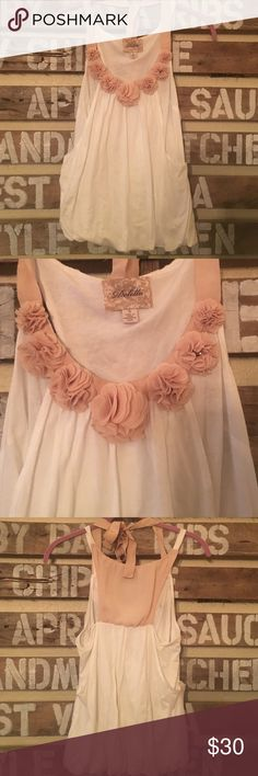 Anthropologie decorative tank This beautiful tank has roses along the collar. It has a bow and rose colored material on the back as well. It's from Anthropologie brand Deletta. Anthropologie Tops Tank Tops