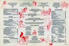 The original menu at the Disney Studio canteen, circa 1940 23 Incredible, Rarely-Seen Photos From The Disney Archives Punk Disney, Disney Fan Art, Disney Magic, Disney Theme, Disney Disney, Disney Princess Facts, Disney Fun Facts, Disney Menus, Disney Food