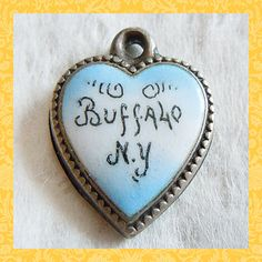 Victorian enamel light blue Buffalo New York puffy heart sterling charm ~ SOLD