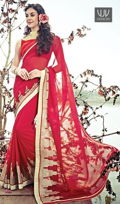 Attractive Fab Red Georgette Half n Half Casual Saree Attractive fab red georgette half n half casual saree is adding the gorgeous glamorous showing the sense of cute and graceful. This beautiful attire is showing some amazing embroidery with lace and resham work.