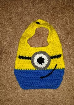 Crochet Minion Bib Children Yellow Blue by SanDeezPhotography