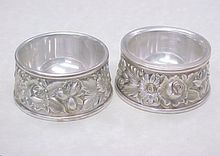 S Kirk & Son REPOUSSE Sterling Silver Open Salt Set Of  2 Individual at rubylane.com
