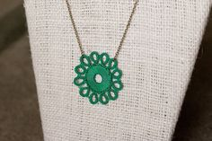 Kachin Necklace Tatted Flower in Jade and Bronze by by hilltribers, $24.00