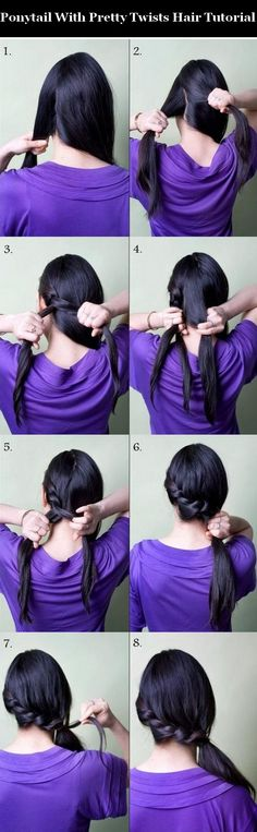 Ponytail With Pretty Twists Hair Tutorial.