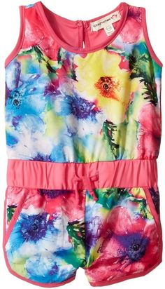 Girls Jersey Romper with Bright Floral Pattern -  Appaman Kids - Kennedy Romper Girl's Jumpsuit & Rompers One Piece (affiliate)