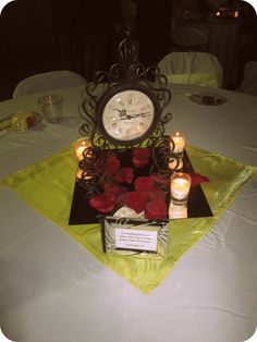 One of the centerpieces at Stephanie's Beauty and the Beast theme'd wedding