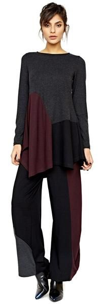 Asymmetrical pieced colorblock swing tunic with coordinating full pant. (wine/grey/black)