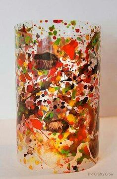 Paint splatter lanterns - so pretty! by The Crafty Crow (Coke Bottle Painting) Diy And Crafts, Arts And Crafts, Paper Crafts, Hl Martin, Craft Activities For Kids, Crafts For Kids, Lantern Festival, Martha Stewart Crafts, Bottle Painting